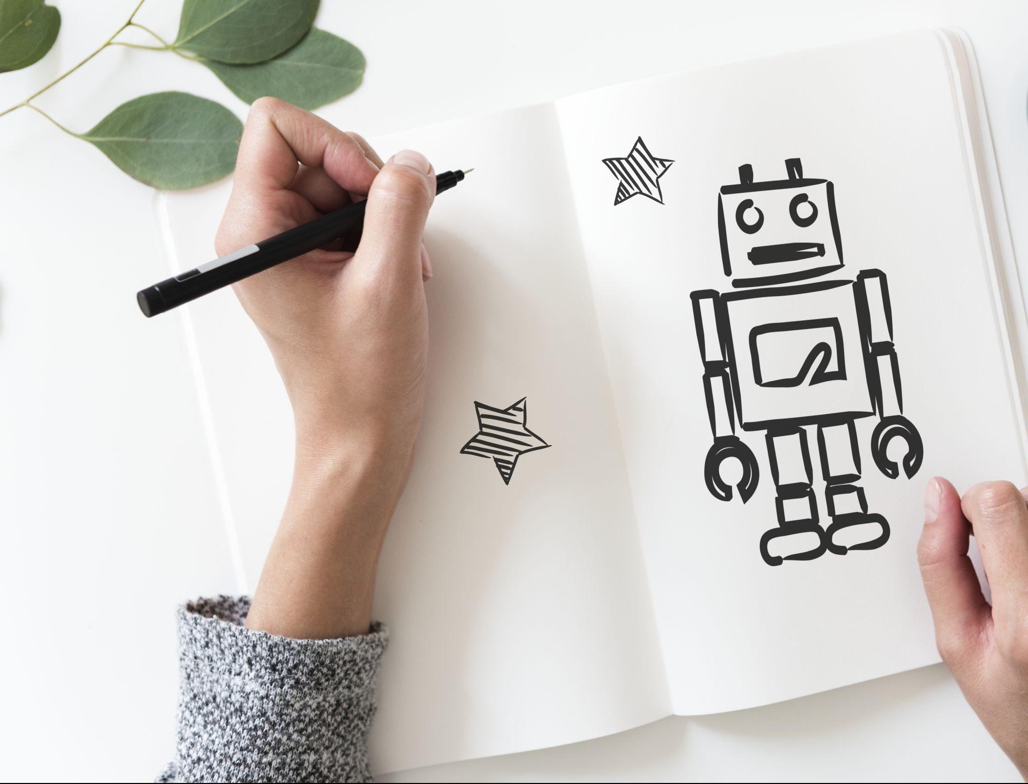 Android robot rajz egy füzetben